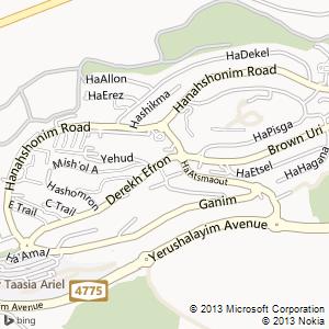 סוויטה להשכרה באריאל מפה